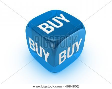 Translucent Blue Dice With Buy Sign