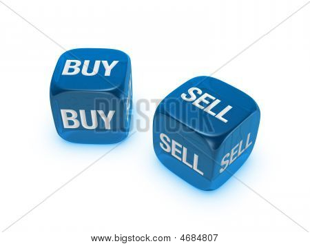 Pair Of Translucent Blue Dice With Buy, Sell Sign