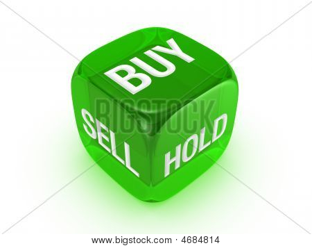 Translucent Green Dice With Buy, Sell, Hold Sign