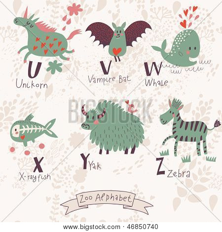 Cute zoo alphabet in vector. U, v, w, x, y, z letters. Funny animals in love. Unicorn, vampire bat, whale, x-ray fish yak, zebra