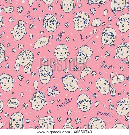 Funny cartoon faces in vector. Cute romantic background in pink color. Boy, girl, hearts, butterflies and bubbles. Seamless pattern can be used for wallpapers, pattern fills, web page backgrounds