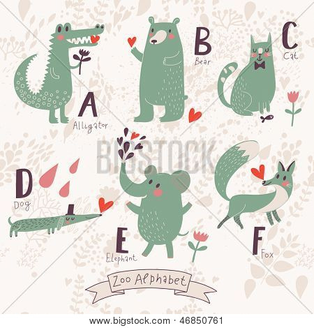 Cute zoo alphabet in vector. A, b, c, d, e, f letters. Funny animals in love. Alligator, bear, cat, dog, elephant, fox.