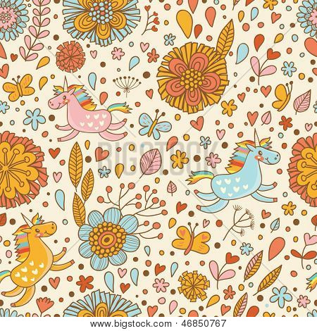 Cute floral seamless pattern with small rainbow unicorns. Romantic fantasy garden with beautiful flowers. Birthday girlish background.