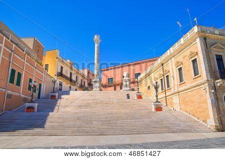 Roman columns. Brindisi. Puglia. Italy.