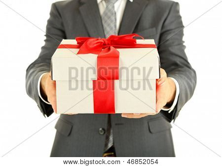 Young businessman present gift box, isolated on white
