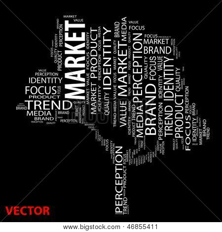 Vector eps concept or conceptual tree market or trend word cloud on black background wordcloud