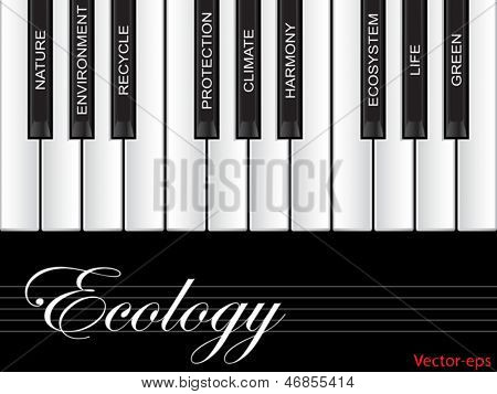 Vector eps concept or conceptual white text piano keys word cloud or tagcloud isolated on black background