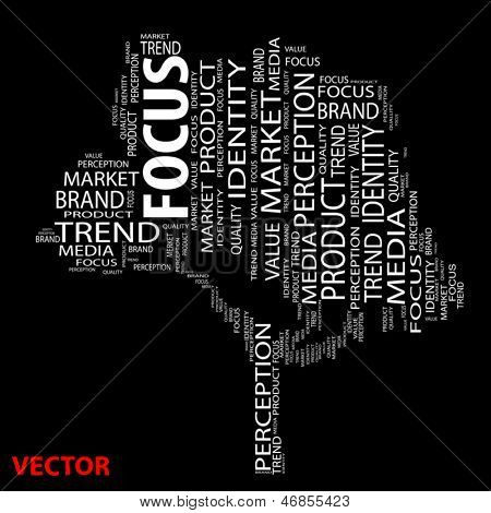 Vector eps concept or conceptual tree focus or trend word cloud on black background wordcloud