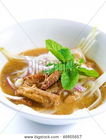Assam or asam laksa  is a sour, fish-based soup. Traditional Malay dish, malaysian food, Asian cuisine.