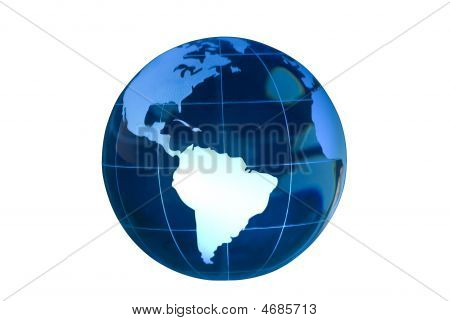 South America Featured On Glass Globe White Bg
