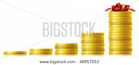Stacks of golden coins. Concept of capital growth. Vector illustration.