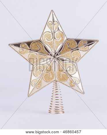 Gold Star Christmas Tree Decoration On White Background