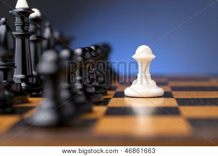 Group Of Black Chess On A Chessboard