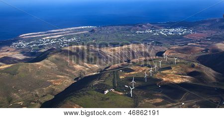 Aerial Of Lanzarote With Wind Power Plant