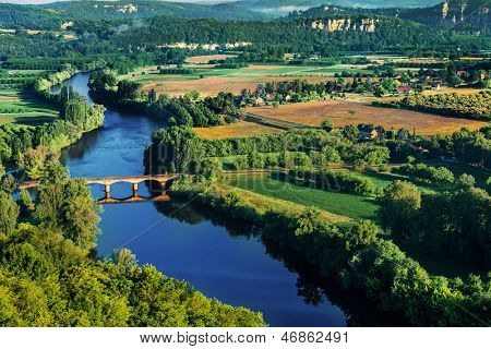 medieval bridge over the dordogne river perigord france