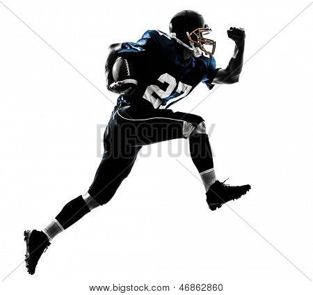 one caucasian american football player man running   in silhouette studio isolated on white background