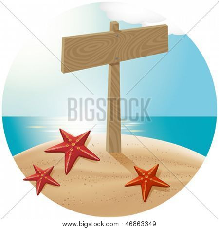 Vector travel concept. Guidepost at the beach with the sea stars