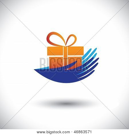 Manos de concepto Vector Graphic - mujer con Icon(symbol) de regalo