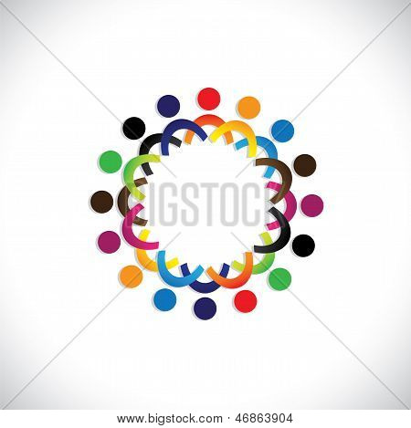 Concept Vector Graphic- Colorful Social Community Of People Icons(symbols)