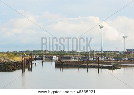 Harbor with boats at German wadden island Borkum