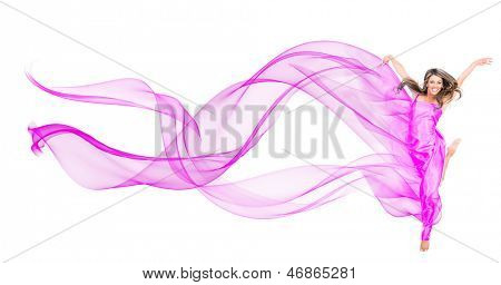 Woman in a beautiful fuchsia dress - isolated over a white background