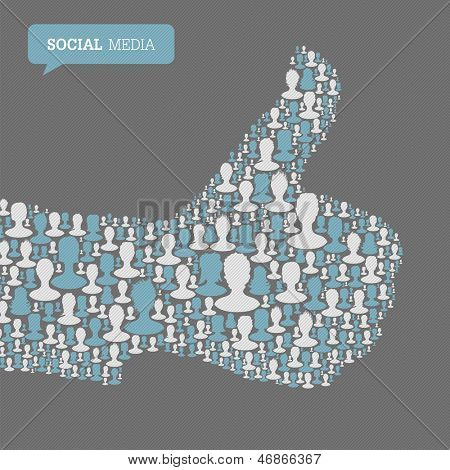 Thumb up symbol. Composed from many people silhouettes. Social media concept. Raster version, vector file available in portfolio.