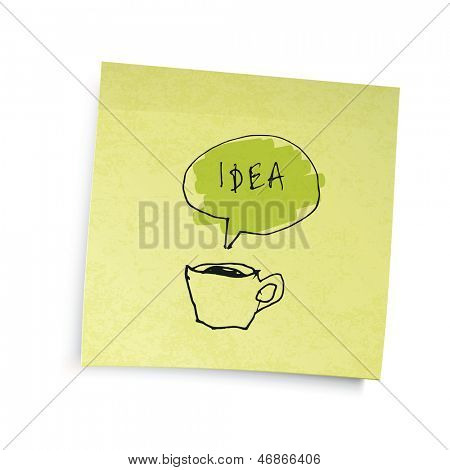 """Yellow sticky notes with coffee cup """"idea"""" illustration. Raster version, vector file available in portfolio."""