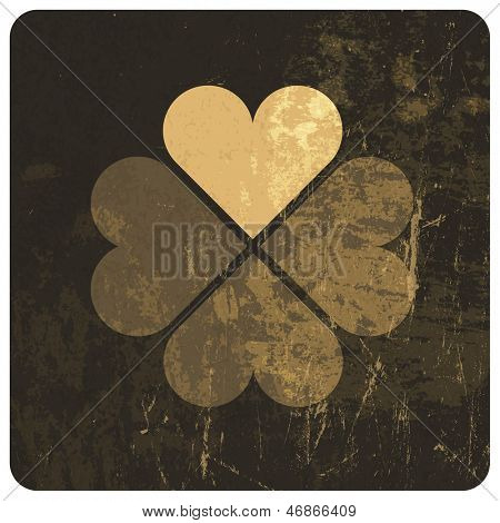 Grunge lucky clover leaf. Raster version, vector file available in portfolio.