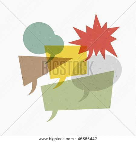 Colorful textured retro speech bubbles on diagonal lines texture. Raster version, vector file available in portfolio.