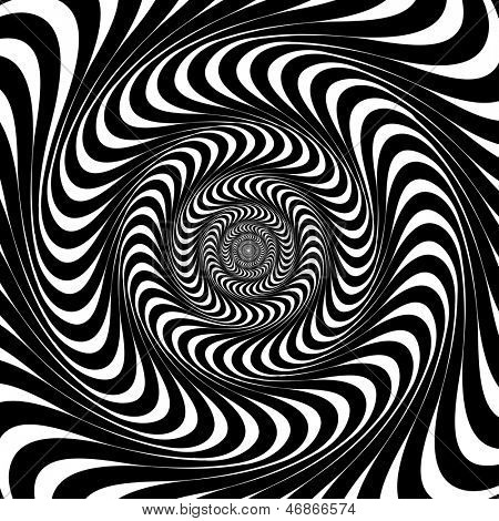 Black and white swirl lines. Optical illusion background. Raster version, vector file available in portfolio.