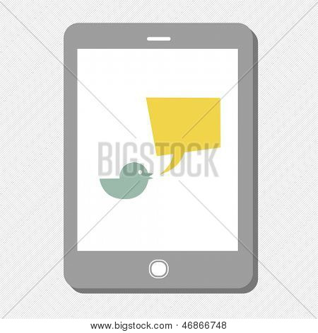 Tablet device with tweet bubble. Raster version, vector file available in portfolio.