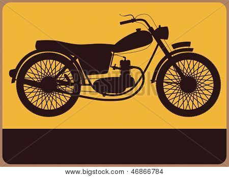Information Plate With Retro Motorbike.