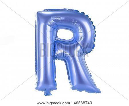 Blue balloon font part of full set upper case letters,R