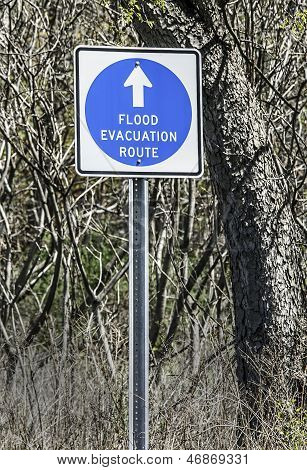 """Flood Evacuation Route"" traffic sign"