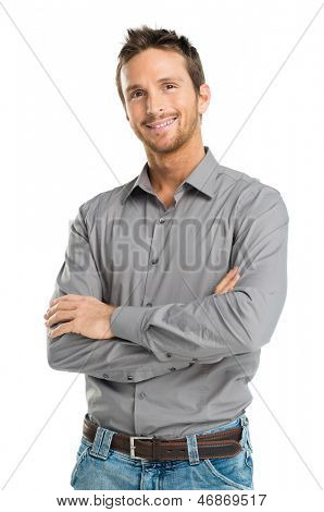 Portrait Of Happy Young Man Isolated On White Background