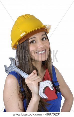 Pretty Worker Woman With Spanner And Hard Hat