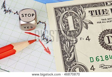 Downtrend Financial Market Chart, Red Pencil, Red Arrow, Dices Cube With The Word Stop And One-dolla