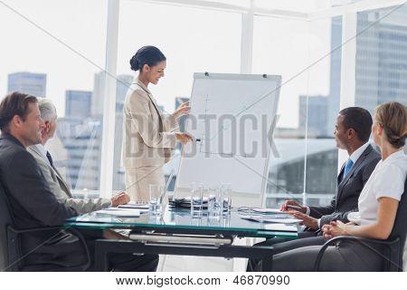 Geschäftsfrau, die auf einem wachsenden Diagramm während eines Treffens im Tagungsraum