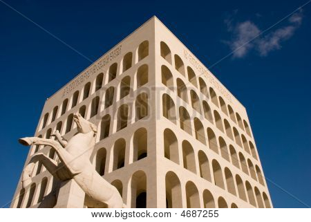 Mussolini Time Architecture Building In Rome, Italy.