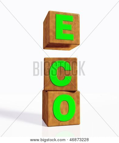 Eco Word Composed By Three Vertical Cubes
