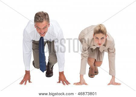 Two business people ready to start a race on white background