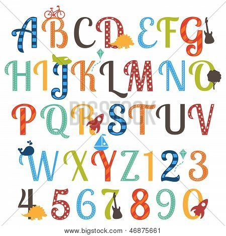 Cute Retro Style Boy Themed Vector Alphabet Set