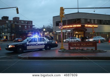Somerville, Massachusetts  - March 11: There Is A Heavy Police Presence On March 11, 2009 Before U2