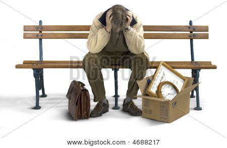 Sad Man Siting On A Bench