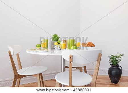 Tasty Breakfast On A White Table