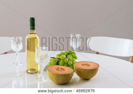 White Wine, Melon And Grapes
