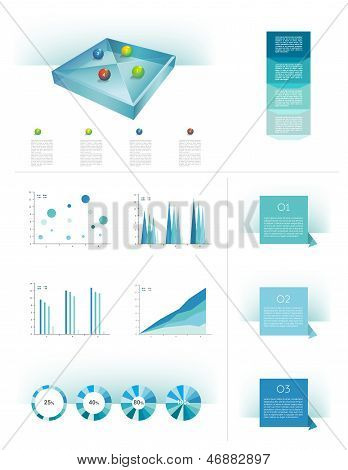 Presentation template rectangle graph with a 3d glass balls. Pie chart diagram. Infographics.