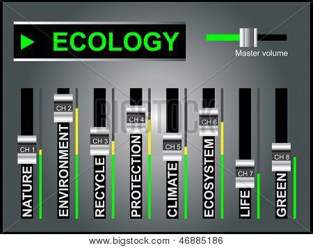 High resolution concept or conceptual white ecology text word cloud tagcloud as DJ mixer on gray background