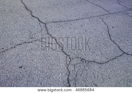 Multiple Cracks On Asphalt