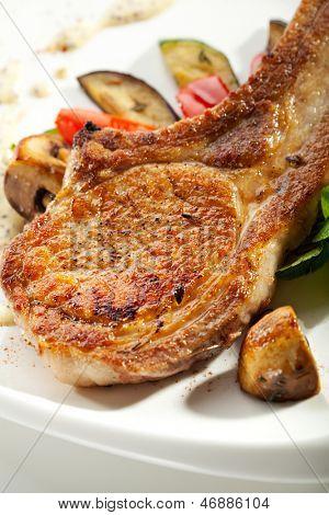 Pork Brisket with Vegetables and Mushrooms